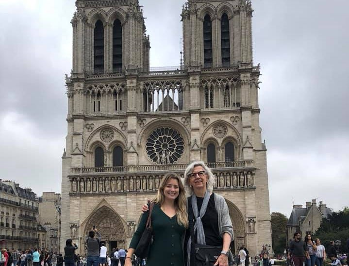 I went on a trip to Notre Dame with my grandma in September 2018. The trip was a college graduation present from her to me, as I had minored in French and just graduated that August. It was an honor to tour the Notre-Dame with her, and I'm saddened to know that if I ever return to Paris, this sacred piece of the city's rich history will never be the same. Betty Cleeland on the right, Kelsey Klopfenstein on the left, circa September 2018.