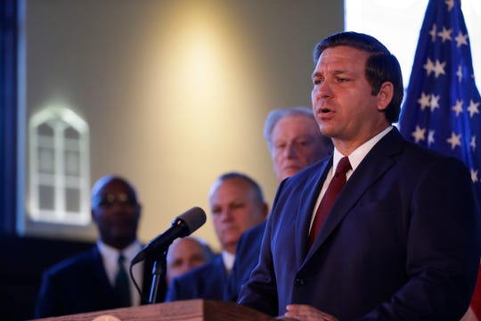 Gov. Ron DeSantis affirms free speech rights on all higher education campuses in the state of Florida at Dodd Hall on the Florida State University campus Monday, April 15, 2019.