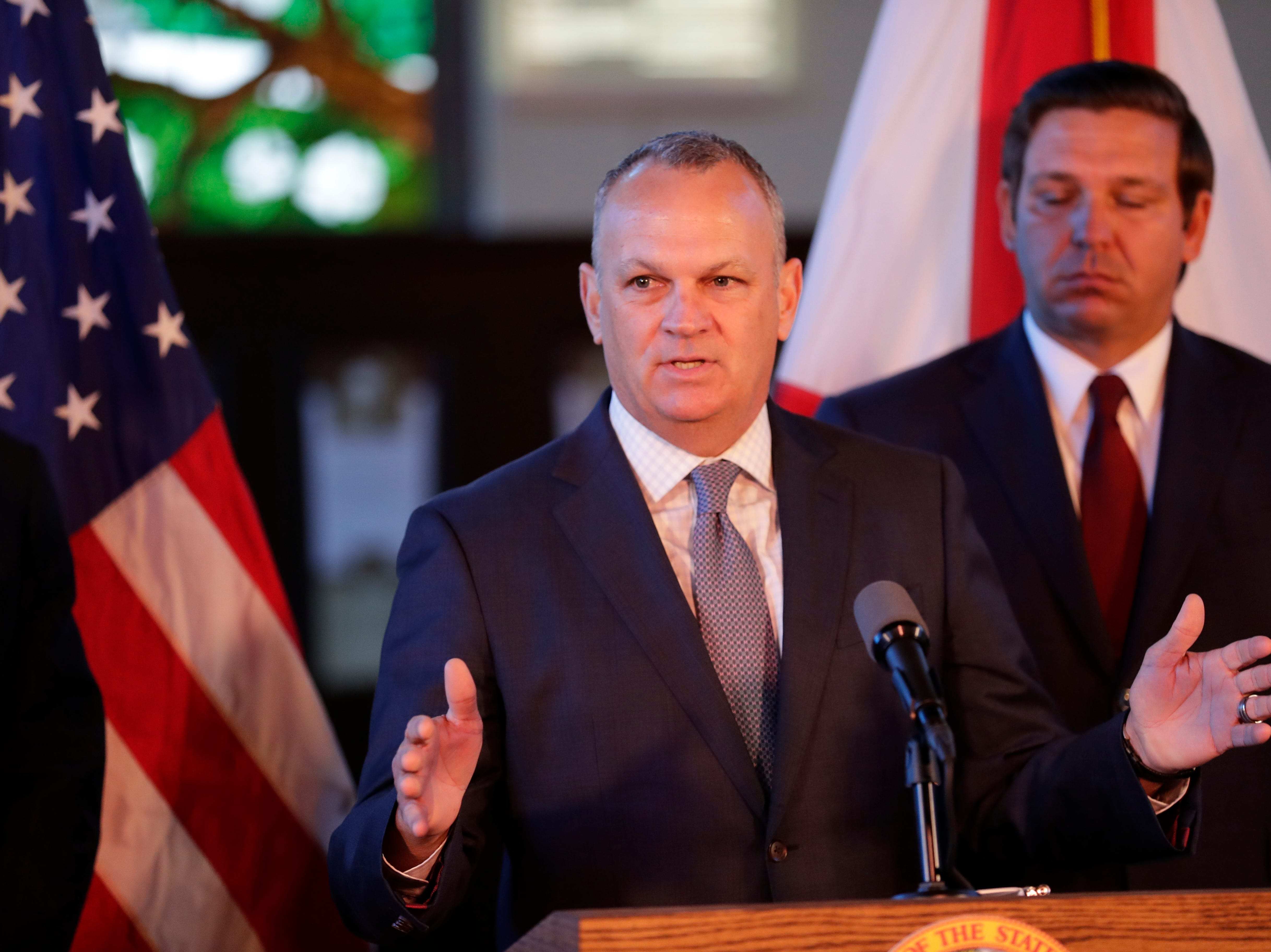 Florida Education Commissioner Richard Corcoran speaks at a news conference where Gov. Ron DeSantis affirmed free speech rights on all higher education campuses in the state of Florida at Dodd Hall at Florida State University Monday, April 15, 2019.