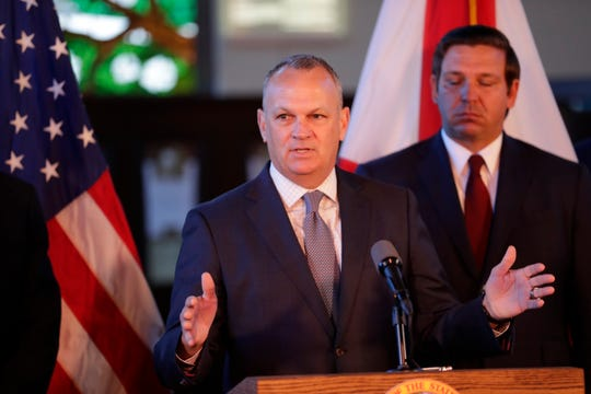 Florida Education Commissioner Richard Corcoran speaks Monday at a news conference at Florida State University at which Gov. Ron DeSantis affirmed free speech rights at all higher-education campuses in the state.