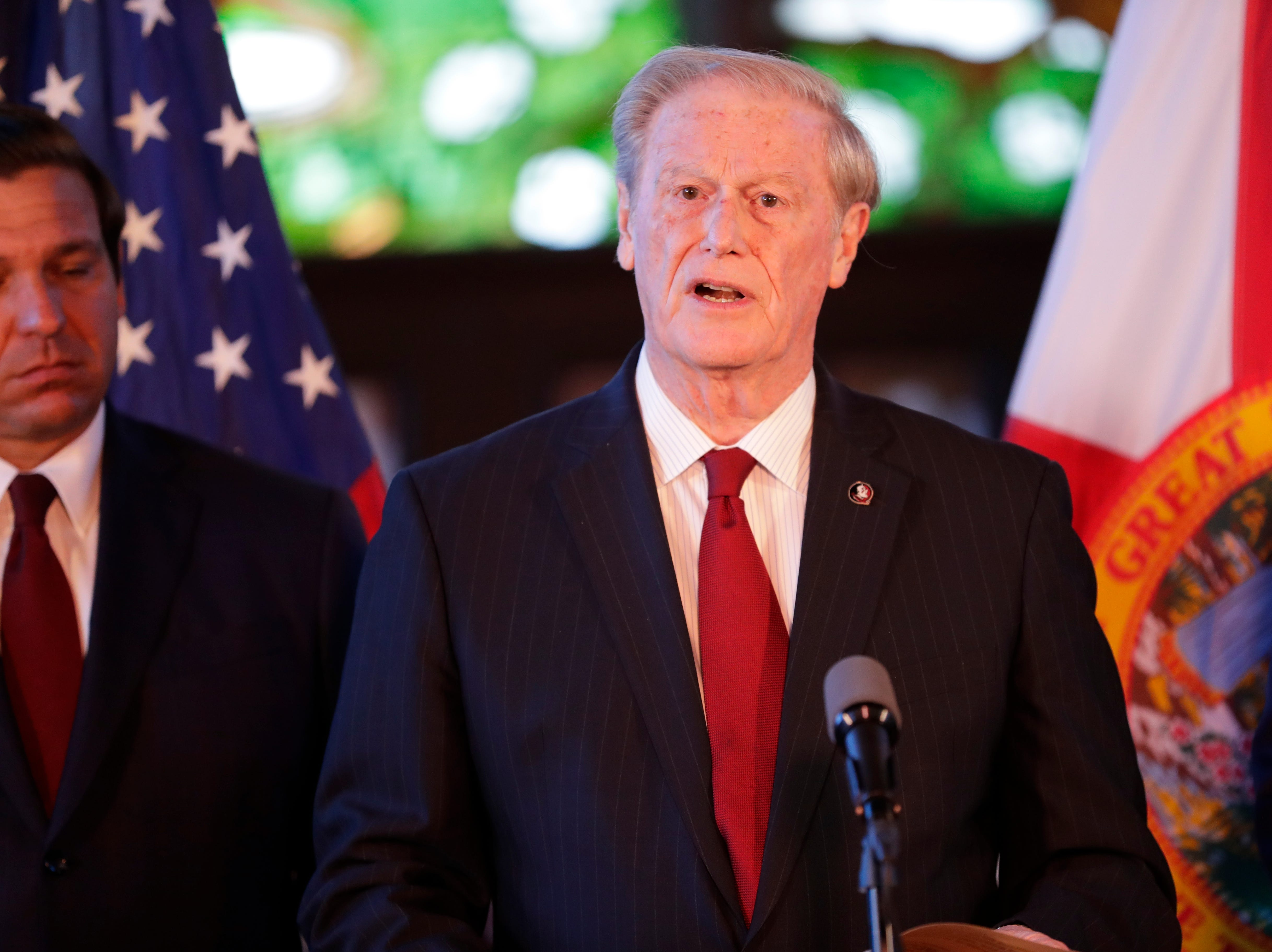 Florida State University President John Thrasher announces Gov. Ron DeSantis' affirmation of free speech rights on all higher education campuses in the state of Florida in Dodd Hall at FSU Monday, April 15, 2019.