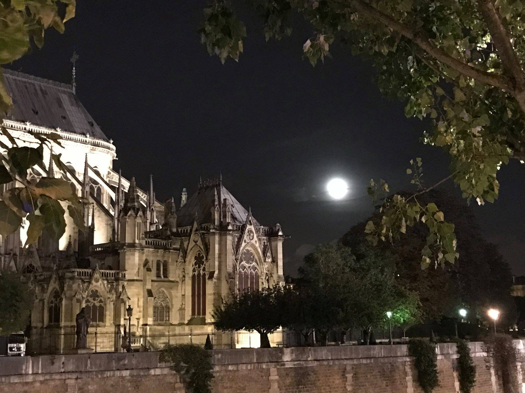 Notre Dame at night, Dec. 13, 2017