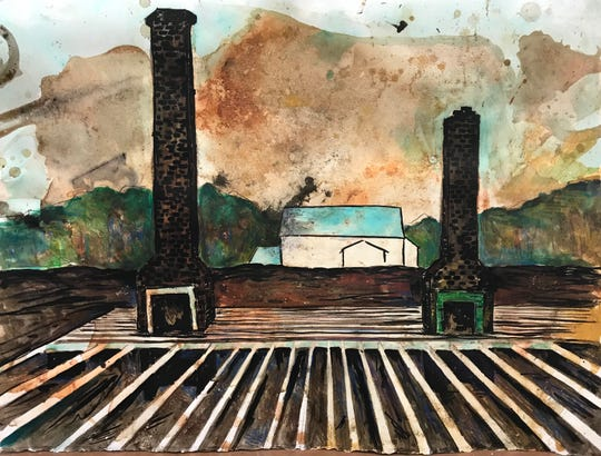 """""""Two Chimneys"""" by Rich Curtis is part of the Postcards from Nowhere exhibit at the Artport."""