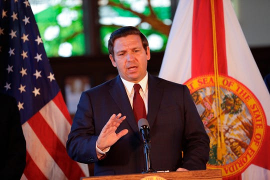 Gov. Ron DeSantis speaks after affirming free speech rights on all higher education campuses in the state of Florida at Dodd Hall at Florida State University Monday, April 15, 2019.