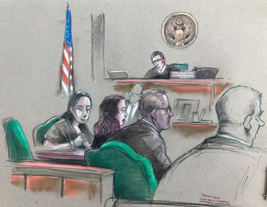 In this artist sketch, a Chinese woman, Yujing Zhang, left, listens to a hearing April 8, 2019, before federal Magistrate Judge William Matthewman in West Palm Beach. Secret Service agents arrested the 32-year-old woman March 30 after they said she gained admission by falsely telling a checkpoint she was a member and was going to swim. (Daniel Pontet via AP)