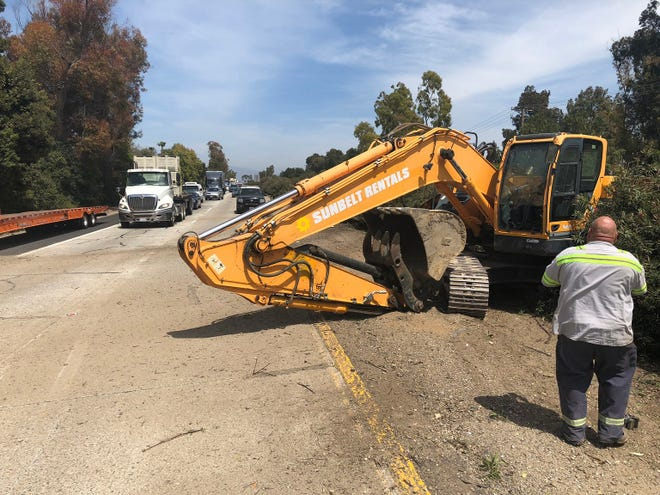 The fast lane of westbound Highway 126 in Ventura was closed when a big rig lost the excavator it was hauling Monday afternoon.