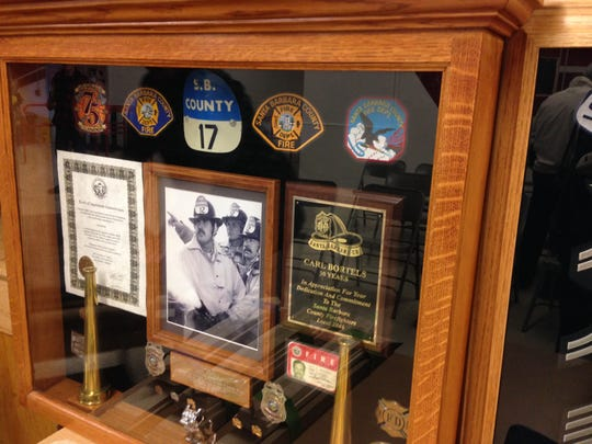 A shadow box made by Bill Aurand, a member of the Conejo Valley Woodworkers Association. Aurand brought the box to show members during a meeting at Redwood Middle School in Thousand Oaks, where the group gathers on the first Thursday of the month.