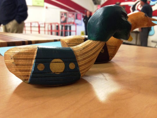 Ducks carved out of wooden golf clubs were on display during a recent meeting of the Conejo Valley Woodworkers Association. The group gathers on the first Thursday of the month at Redwood Middle School in Thousand Oaks.