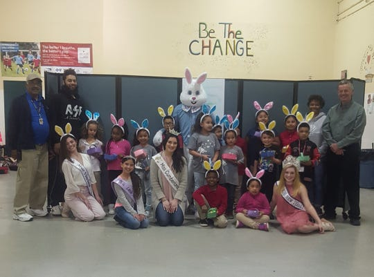 Miss Cumberland County Alyssa Rodriguez, Miss Vineland Marissa Marchese, Miss New Jersey Junior Teen Madison Stiles and Little Miss Vineland Jaslene Candelaria visited the Boys & Girls Club of Vineland and helped members make Easter baskets using construction paper, scissors and glue. They also helped the children fill the baskets with an assortment of candy. To everyone's delight, the Easter Bunny made an appearance and handed out Easter eggs too.