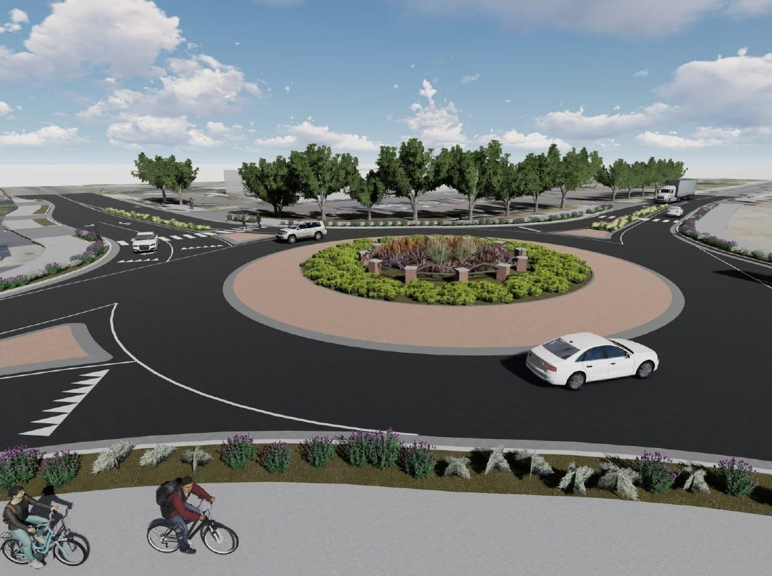 A rendering of the proposed roundabout on Santa Fe Street and Tulare Avenue in Visalia.