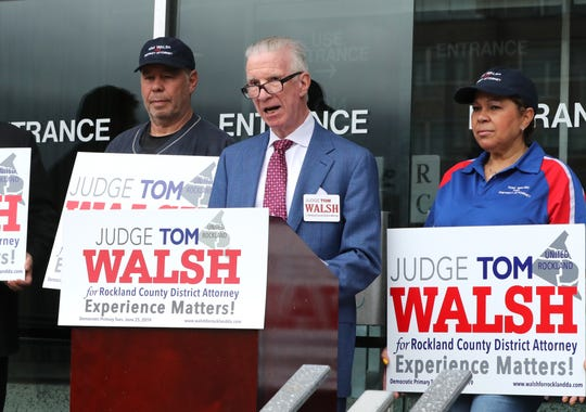 Rockland County District Attorney candidate Thomas Walsh speaks in front of the country office building April 15, 2019.