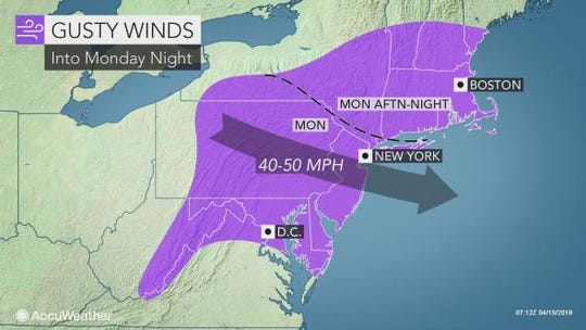 Winds are expected to pound the Lower Hudson Valley through Monday night.