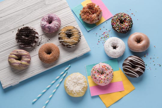 Some of the doughnut options at Duck Donuts, opening this summer in Mamaroneck.