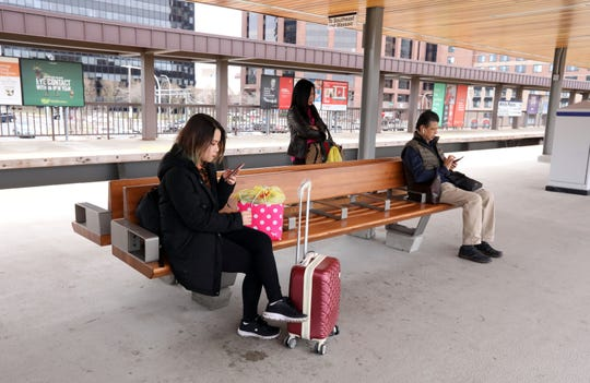 Commuters at the southern end of the White Plains Metro-North train station April 11, 2019. The aesthetic and amenities like charging stations and wi-fi, at this station will serve as a model for other stations.