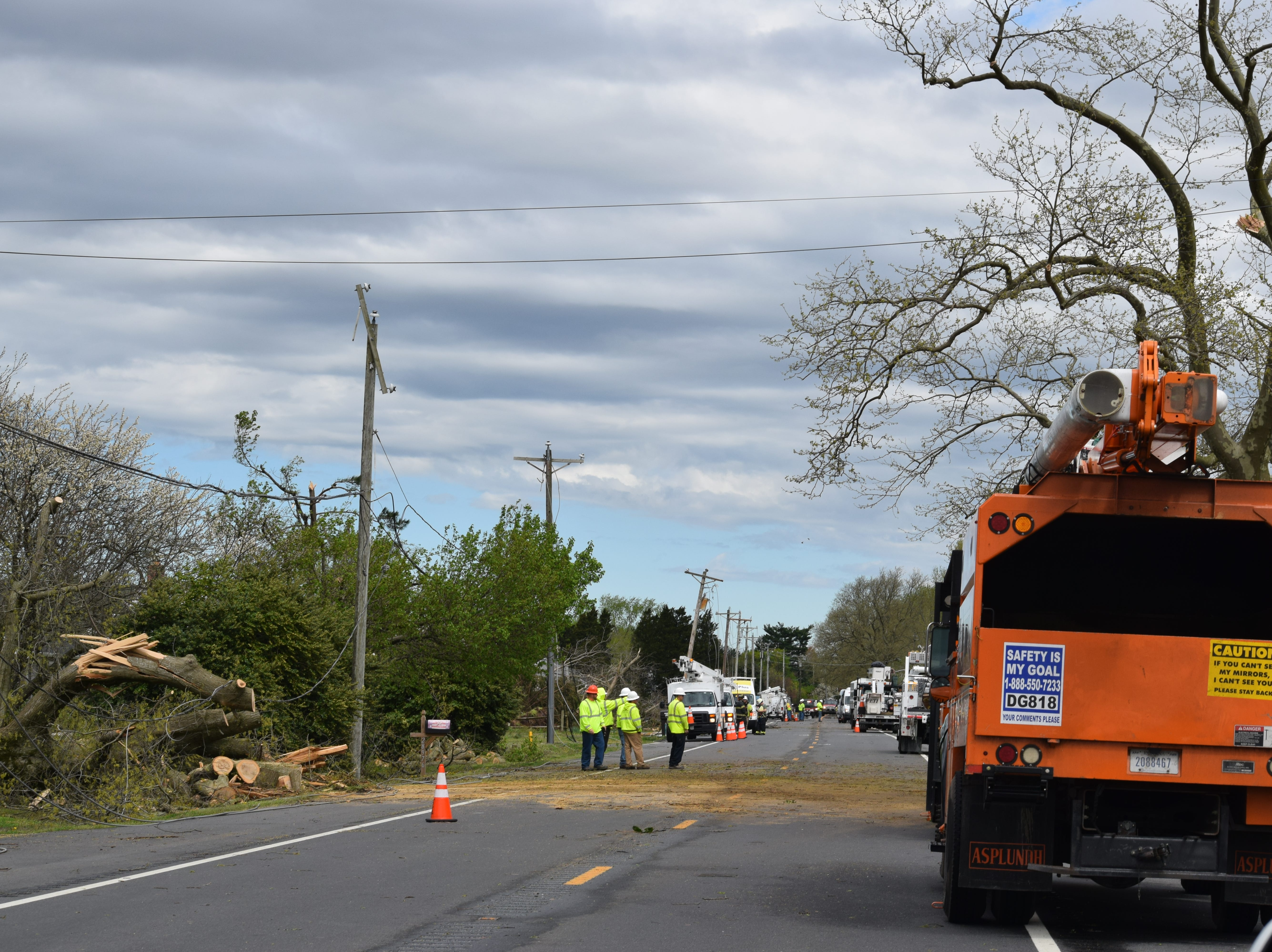 Trees and power lines were down in parts of western Sussex County on Monday after a storm.