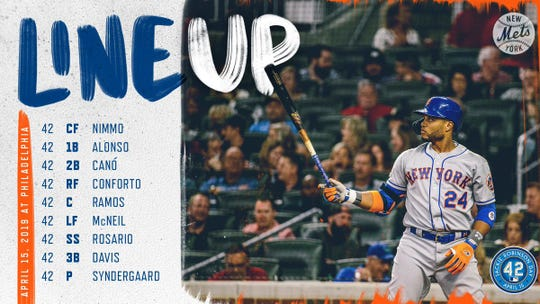 Mets' lineup for Monday's game vs. Phillies.