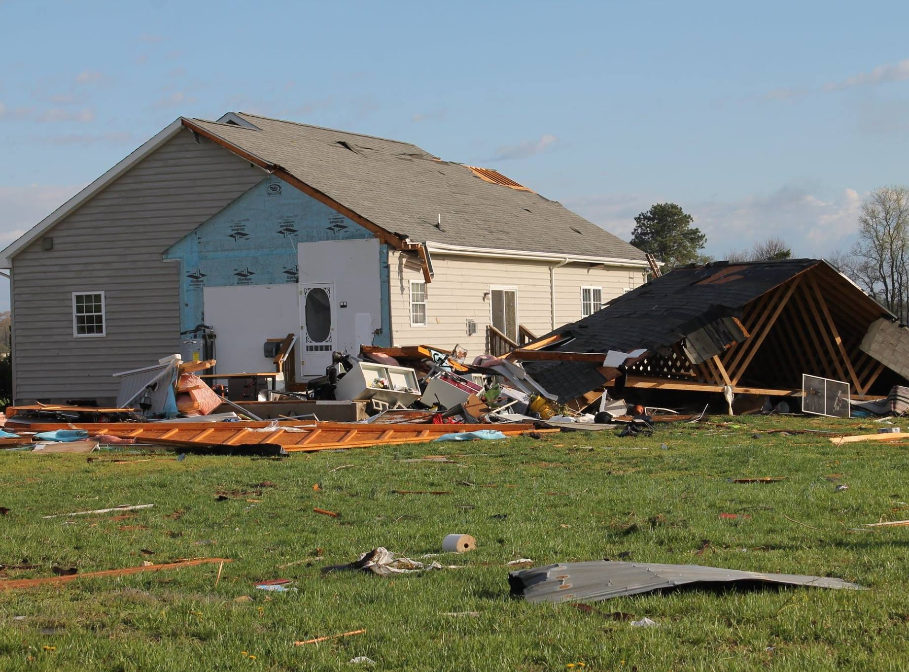Storm damage near Seaford Monday, April 15, 2019, after overnight storms.