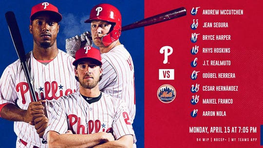 Monday's Phillies' batting order vs. Mets
