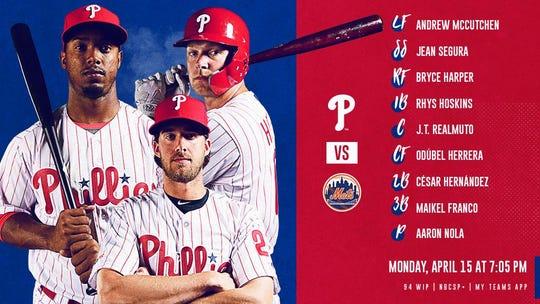 Monday's Phillies' batting order vs. Mets