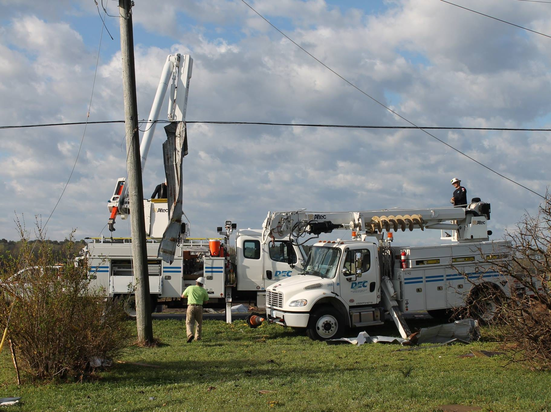 Delaware Electric Cooperative crews out early Monday, April 15, 2019, restoring power after severe storms overnight.