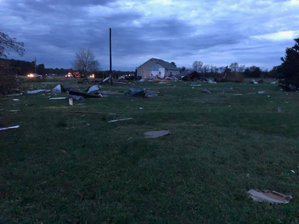 Delaware Electric Cooperative was out early Monday working to restore power to areas hit by storms overnight. They shared this image of damage near Seaford.