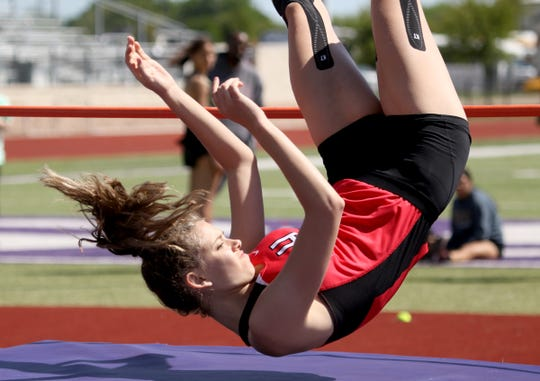Holliday's Brea Box competes in the high jump Monday, April 15, 2019, in the Area 7/8-3A Track and Field Championship in Jacksboro.