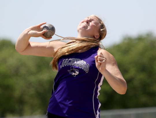 Jacksboro's Baylee Thompson competes in shot put Monday, April 15, 2019, in the Area 7/8-3A Track and Field Championship in Jacksboro.