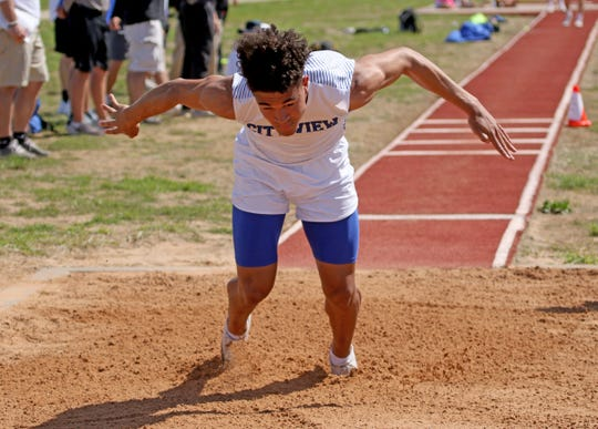 City View's Jayln Marks competes in the triple jump Monday, April 15, 2019, in the Area 7/8-3A Track and Field Championship in Jacksboro.