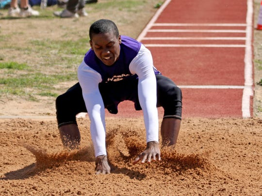 Jacksboro's Keondrae Sadler competes in the triple jump Monday, April 15, 2019, in the Area 7/8-3A Track and Field Championship in Jacksboro.