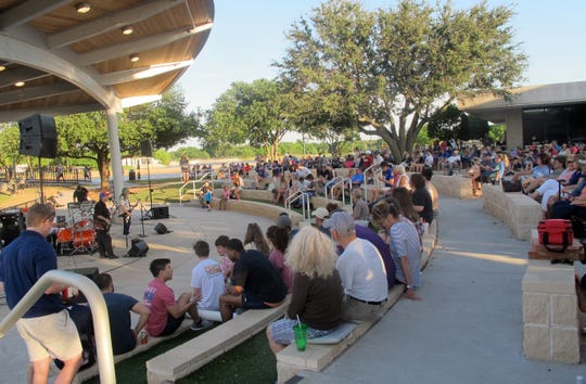 There is plenty of amphitheater seating at the Ruby & Robert Priddy Pavilion on Sikes Lake.