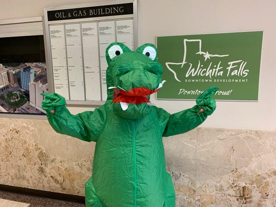 The unveiling of the new Downtown Wichita Falls Development, Inc. mascot for Cajun Fest, an annual event that will be held from 11 a.m. to 8 p.m. Saturday April 27 on Ohio Ave. between 8 1/2 and 10thStreets.