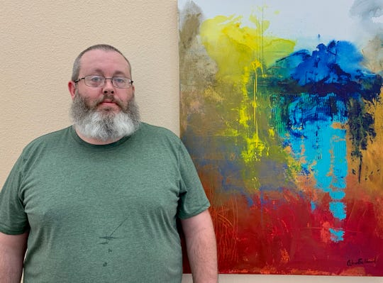 Adam Ballard will have his first solo art exhibit at the West End Studio in the Kemp Center for the Arts. The show of abstract acrylic on canvas runs through June 15.