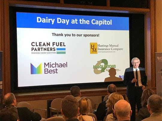 Governor Tony Evers addresses members of the Dairy Business Association before they visit legislators during Dairy Day at the Capitol on April 10.