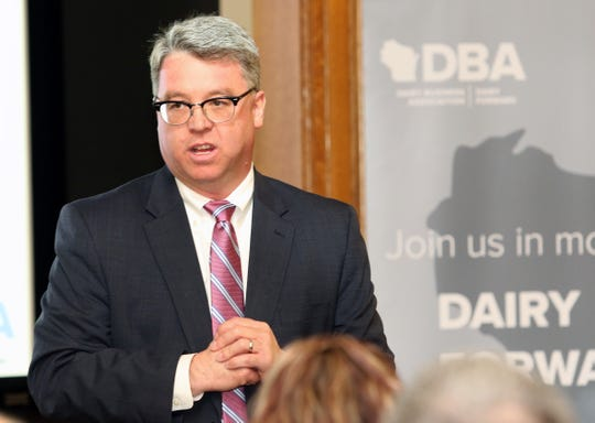 Wisconsin Department of Agriculture, Trade and Consumer Protection Secretary Brad Pfaff talks to members of the Dairy Business Association during Dairy Day at the Capitol on April 10.