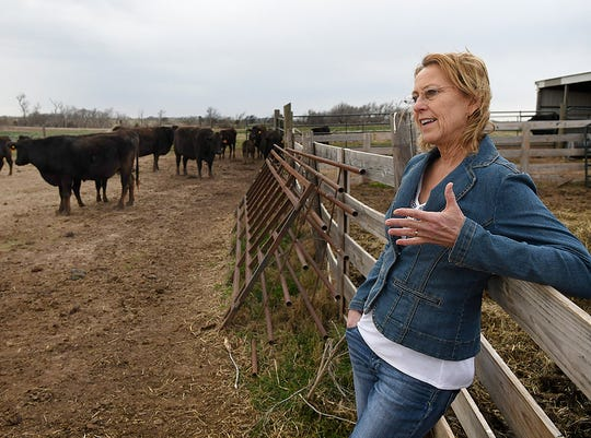 Linda Woodruff talks about her wagyu cattle during an interview at Silverwood Ranch southeast of Enid, Okla.