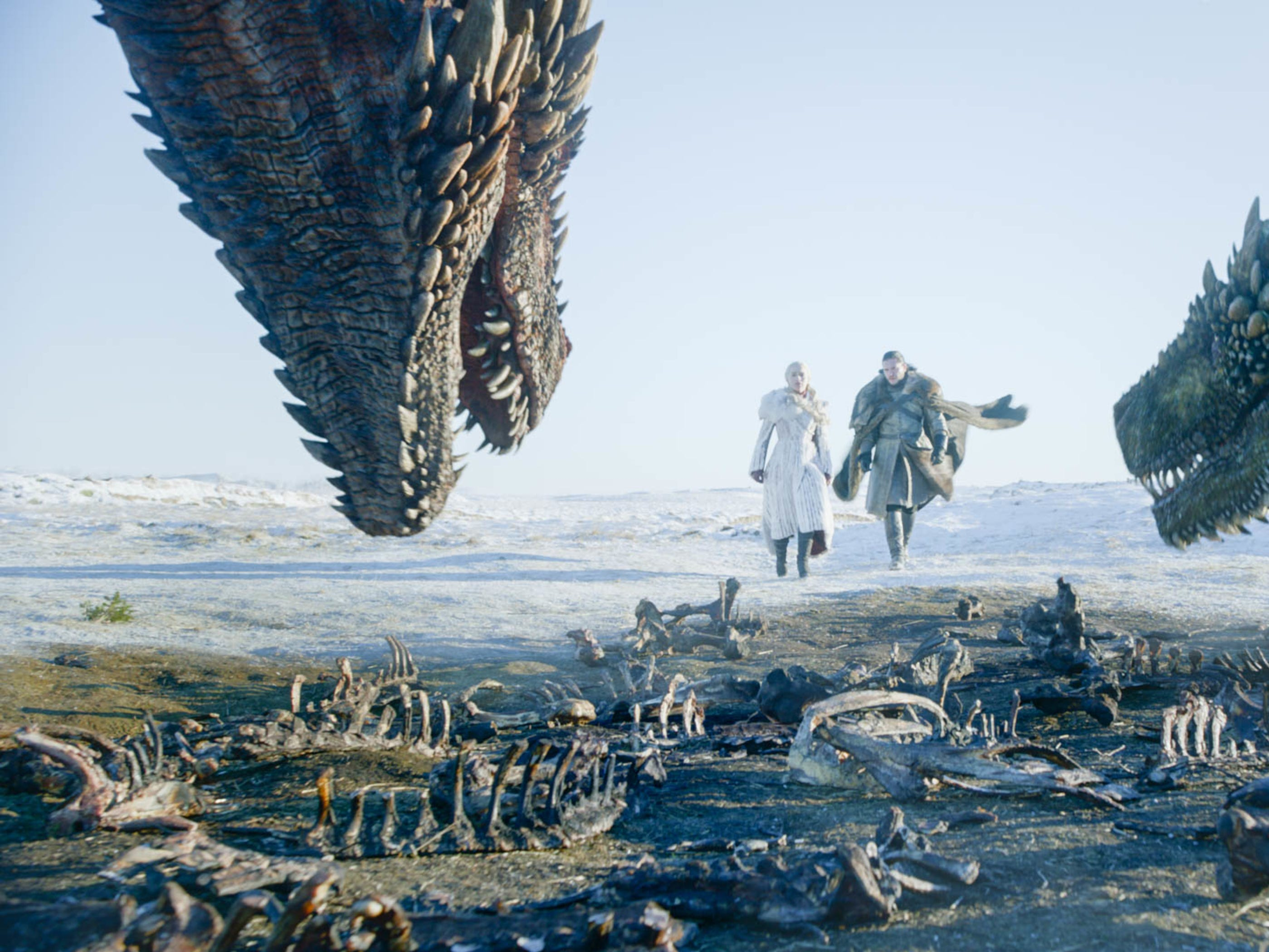 Daenerys Targaryen (Emilia Clarke) and Jon Snow (Kit Harington) visit her dragons.