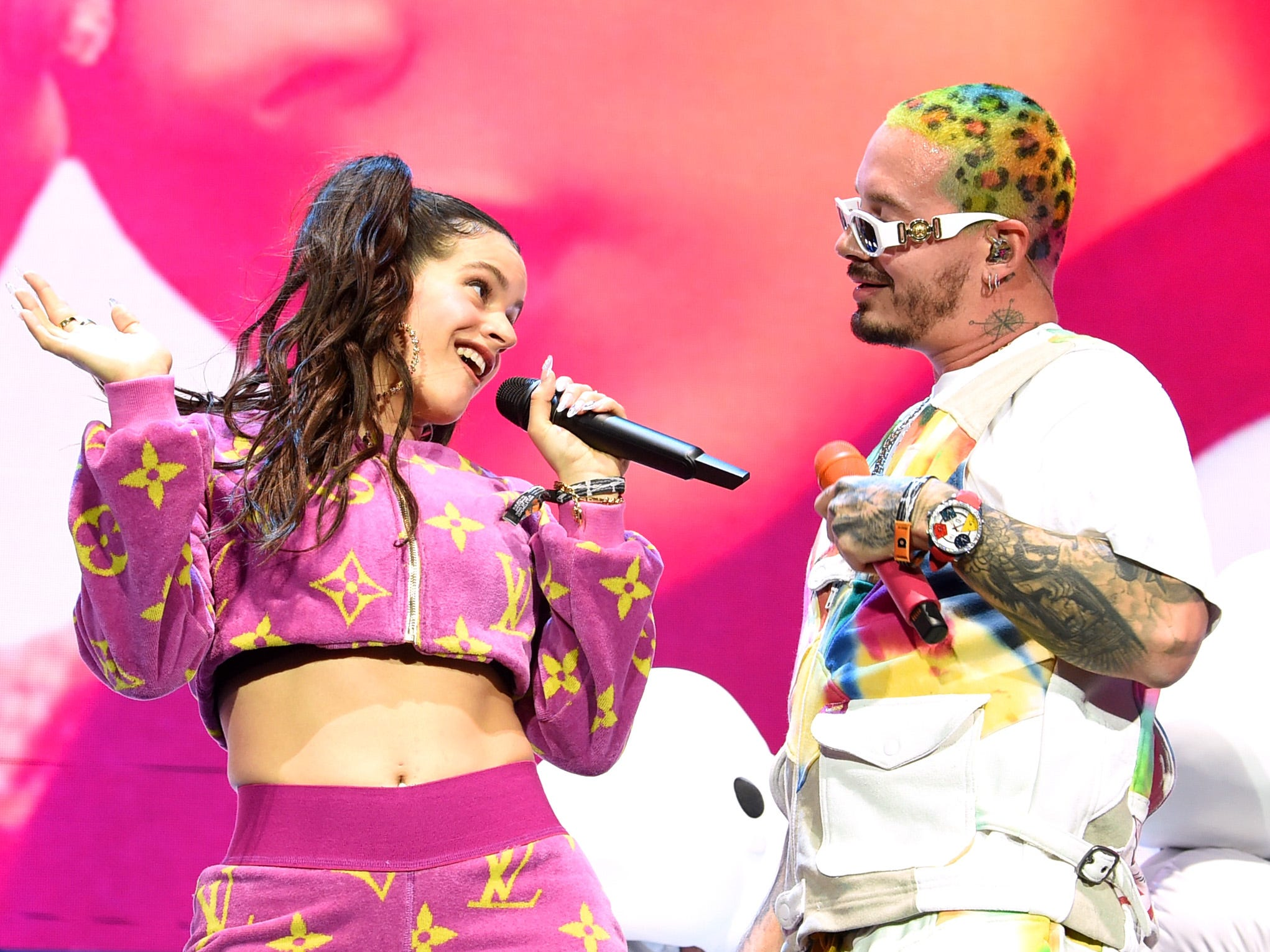 INDIO, CA - APRIL 13:  Rosalia and J Balvin perform at Coachella Stage during the 2019 Coachella Valley Music And Arts Festival on April 13, 2019 in Indio, California.  (Photo by Kevin Winter/Getty Images for Coachella) ORG XMIT: 775277732 ORIG FILE ID: 1137210165