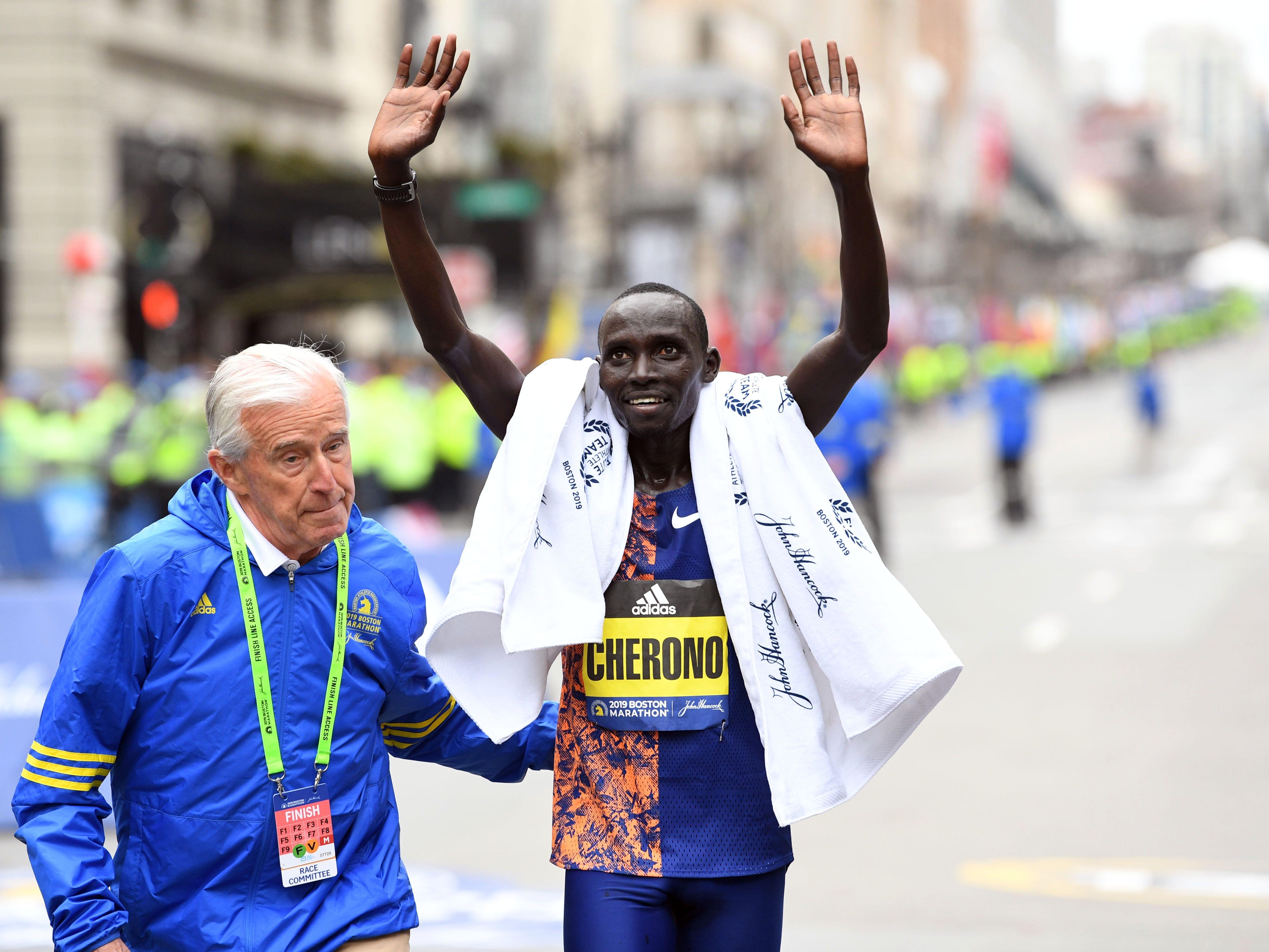 Lawrence Cherono (KEN) reacts after winning the 2019 Boston Marathon.