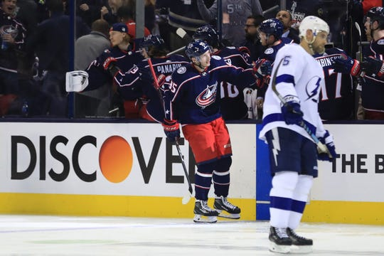 Columbus Blue Jackets center Matt Duchene celebrates with teammates after scoring a goal against the Tampa Bay Lightning in Game 3.