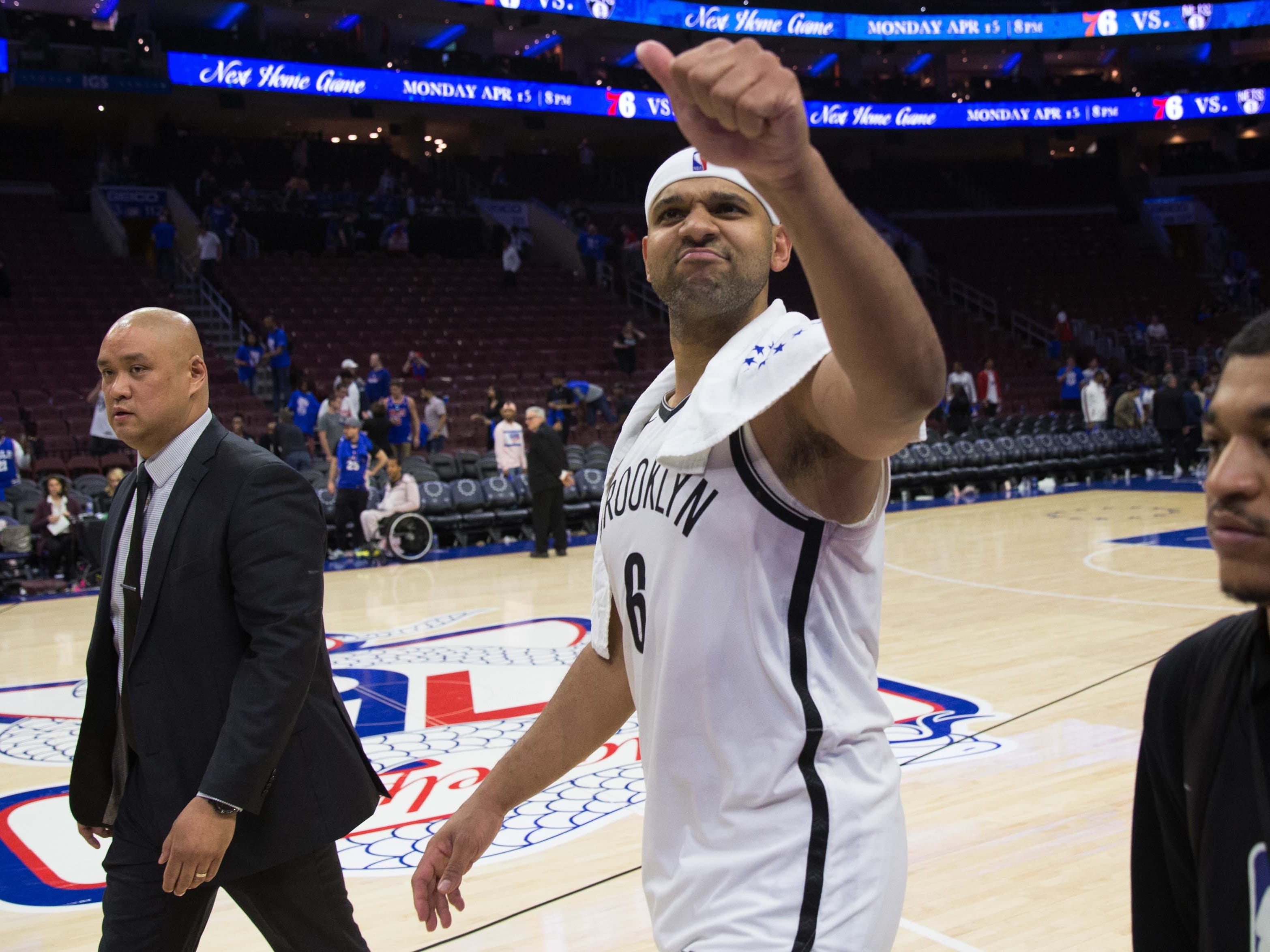April 13: Nets forward Jared Dudley reacts as he walks off the court after a victory against the 76ers in Game 1.