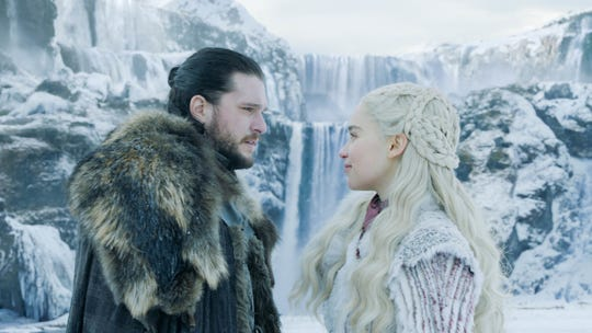 "Would Jon Snow (Kit Harington), left, Daenerys Targaryen (Emilia Clarke) or someone else sit atop the Iron Throne at the end of HBO's ""Game of Thrones""?"