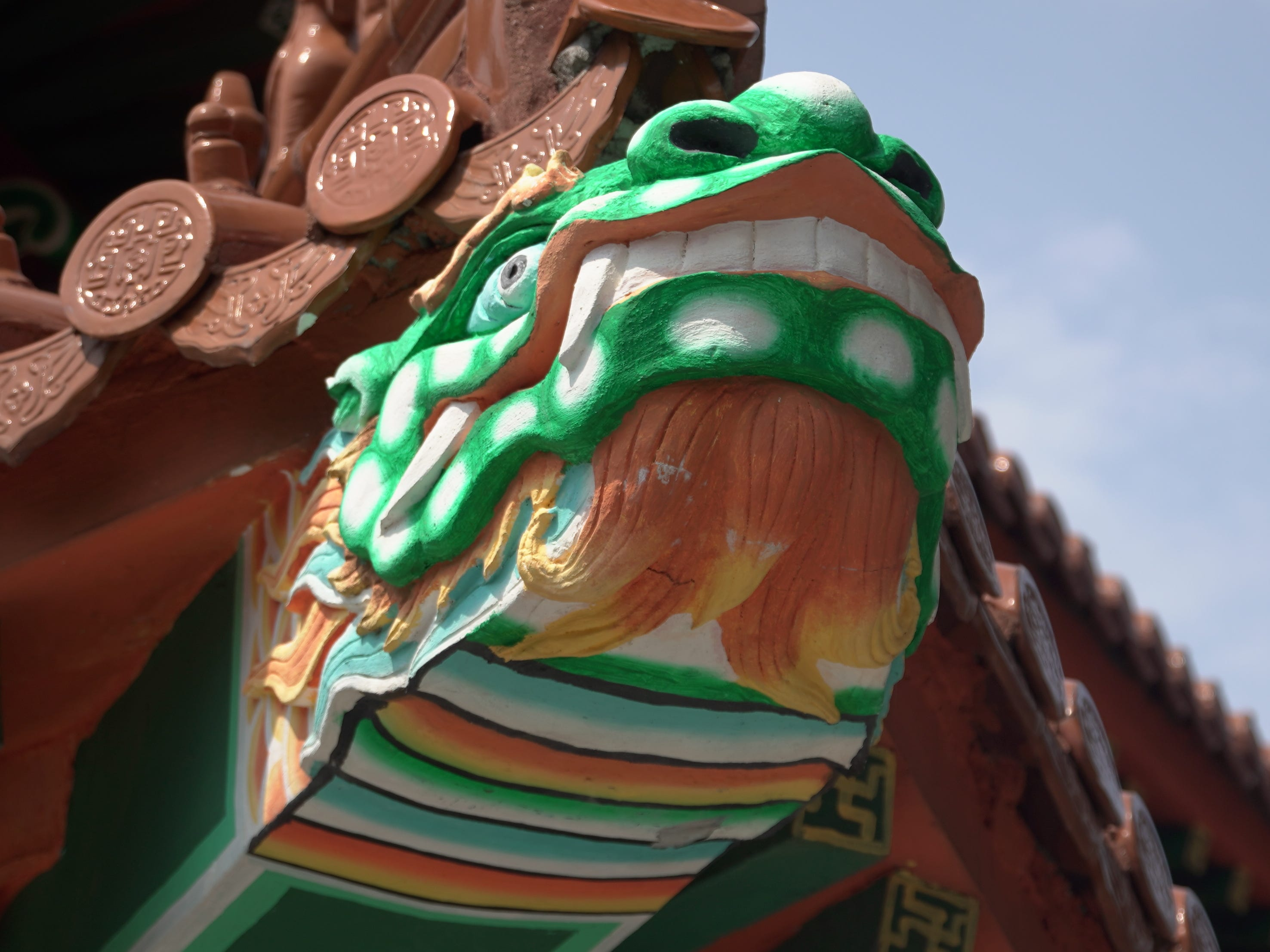 A traditional Chinese dragon on the Po Lin Monastery.