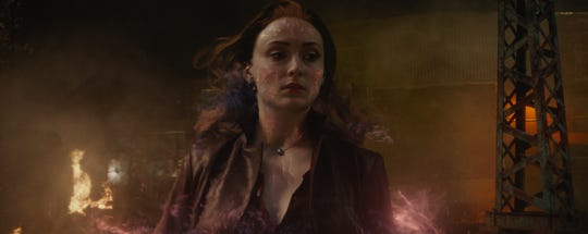 "Possessed by the cosmic Phoenix force, Jean Grey (Sophie Turner) is both hero and villain in ""Dark Phoenix."""