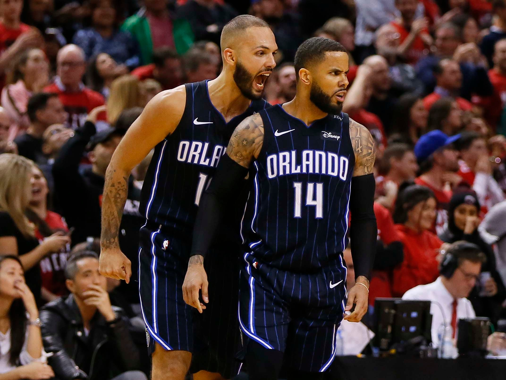 April 13: Magic guard Evan Fournier reacts to the winning basket by guard D.J. Augustin in Game 1 against the Raptors.