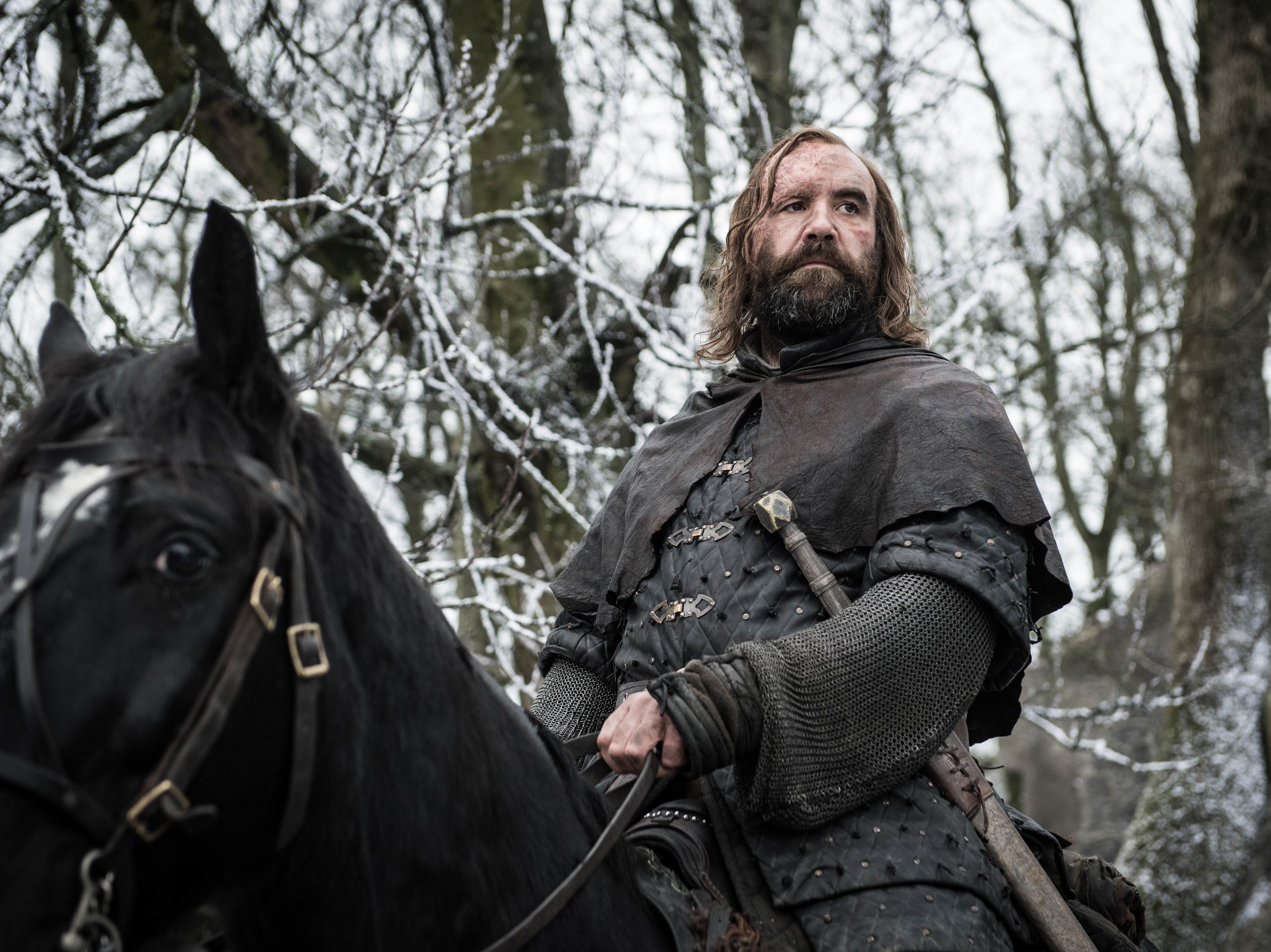 The Hound (Rory McCann) arrives at Winterfell.