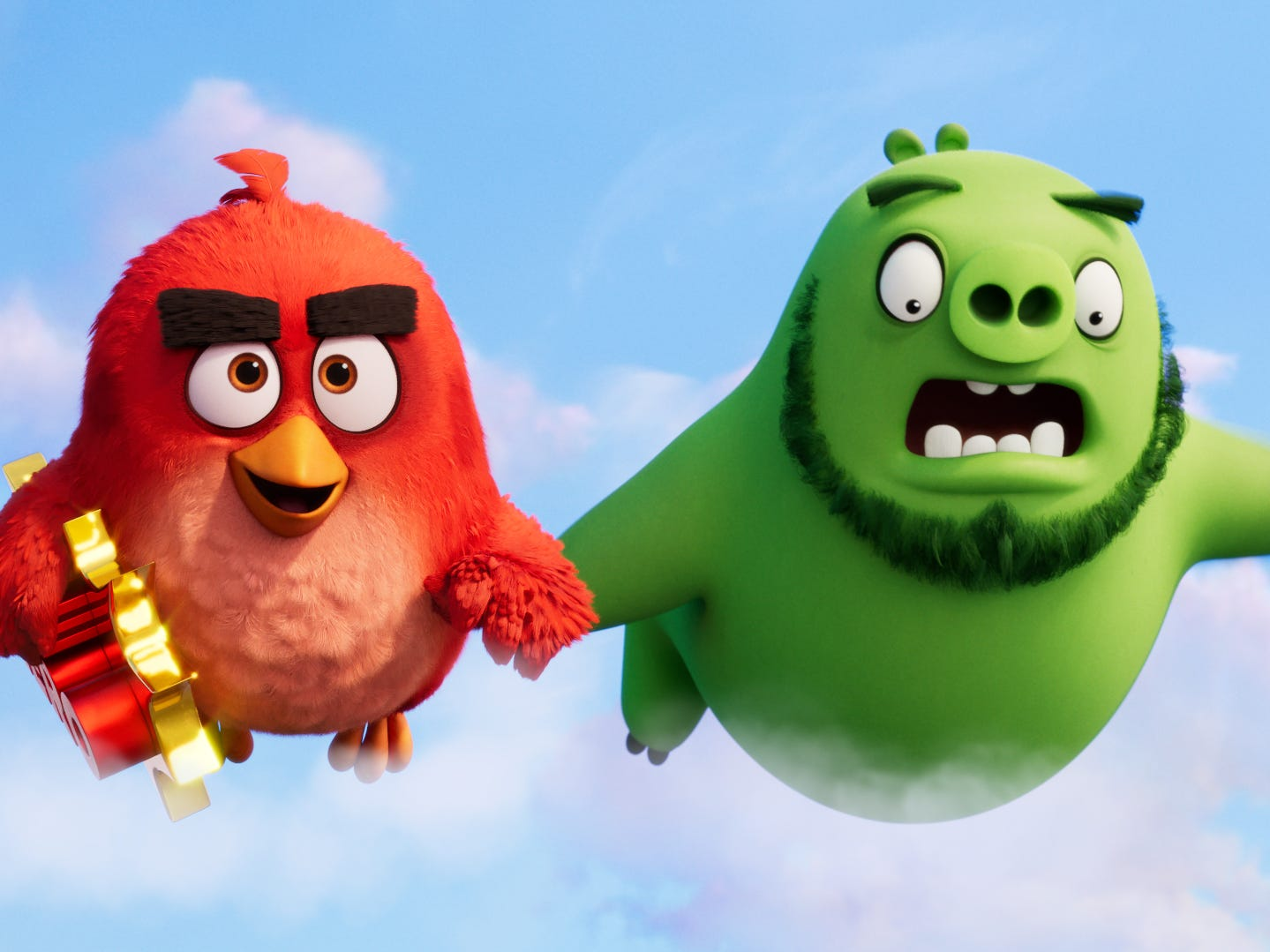 "Red the bird (voiced by Jason Sudeikis, left) and Leonard the pig (Bill Hader) are frenemies who team up against a common threat in the animated sequel ""The Angry Birds Movie 2."" (Aug. 14)"