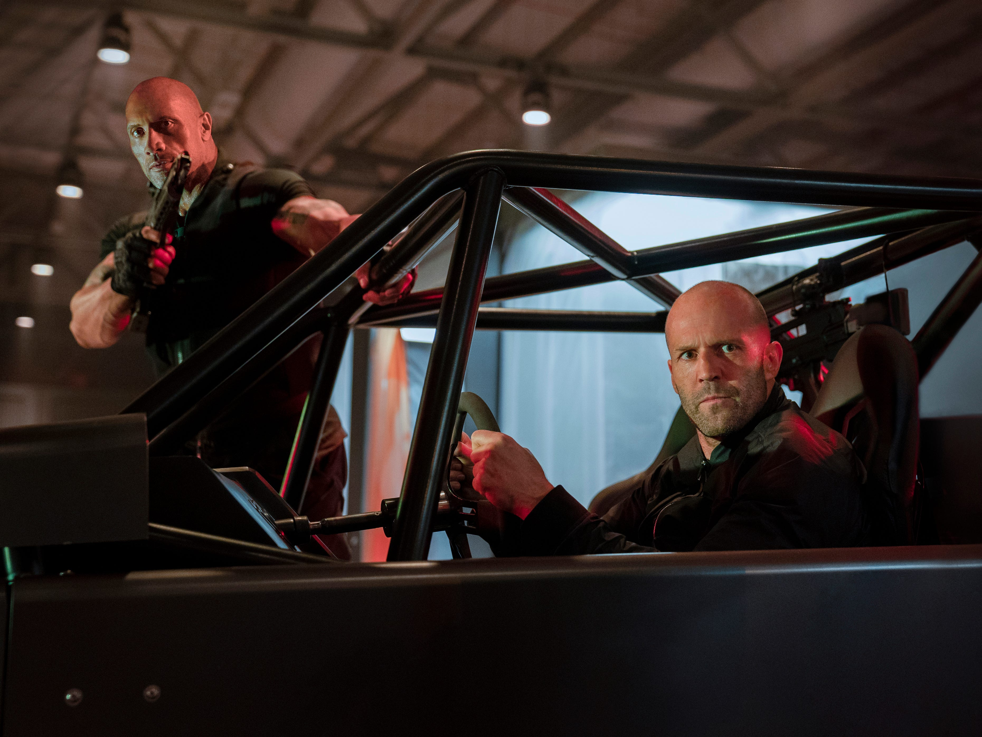 "Frenemies Luke Hobbs (Dwayne Johnson, left) and Deckard Shaw (Jason Staham) team up to take on a supervillain in the action film ""Fasy & Furious Presents: Hobbs & Shaw."" (Aug. 2)"