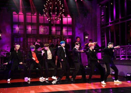 "Musical guest BTS performs on ""Saturday Night Live."""