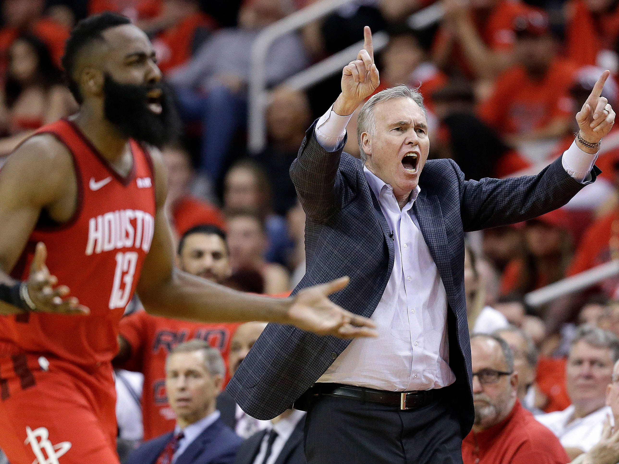 April 14: Rockets head coach Mike D'Antoni and guard James Harden react to a call during the second half of Game 1 against the Jazz.