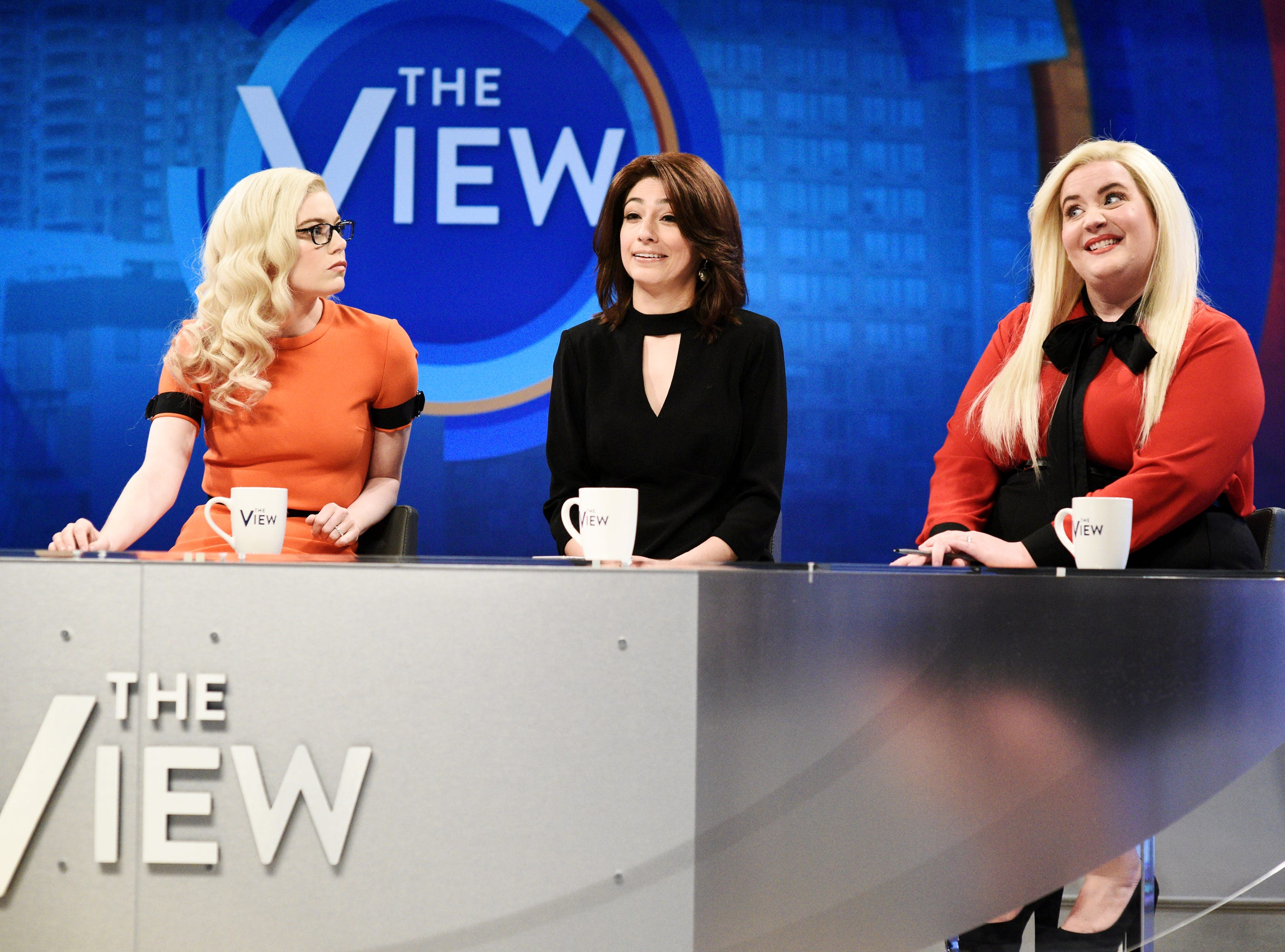 "The show also took on ""The View"" with host Emma Stone playing ""View"" guest Jenny McCarthy along with Melissa Villaseñor as Ana Navarro and Aidy Bryant as Meghan McCain."